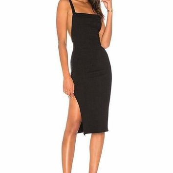 Laylanie  Black Cutout Back Bandage Dress