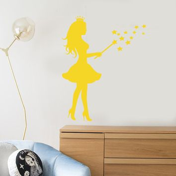 Vinyl Wall Decal Princess Magic Wand Stars Magic Fairy Tale Stickers (2480ig)
