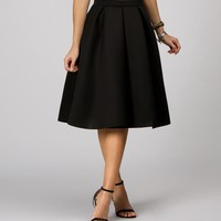 Black Flirty Midi Skirt