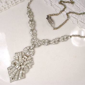 Original Antique Art Deco Pave Rhinestone Flapper Necklace 1920s Statement Pendant Silver Vintage Bridal Necklace Great GATSBY Downton Abbey