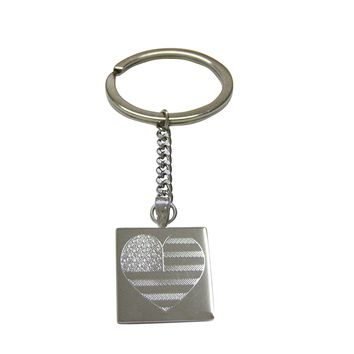 Silver Toned Etched Heart Shaped American Flag Pendant Keychain