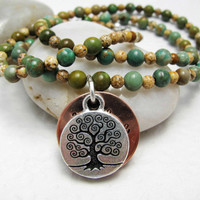 Tree of Life Necklace Hand Stamped with Brown by SilverSoleil