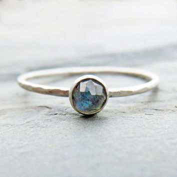4mm Labradorite Stacking Ring with Sterling Silver Band and Choice of Finish - Hammered, Smooth, Antiqued - Rose Cut Faceted Round Stone