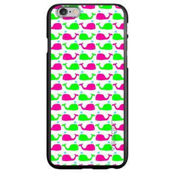 DistinctInk® Spigen ThinFit Case for Apple iPhone or Samsung Galaxy - Green Pink Cartoon Whales