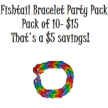 Rainbow Loom Fishtail Party Pack! Pack of 10 Bracelets!