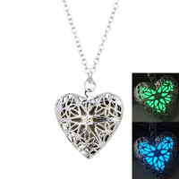 Jewelry Gift Stylish Shiny New Arrival Heart Noctilucent Lightning Pendant Accessory Photo Frame Necklace [11652547535]