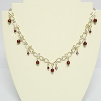 Wirework Choker Necklace, Silver Chain Links, Dark Red Swarovski Pearls and Crystals, Burgundy, Hand Crafted, Plus Size