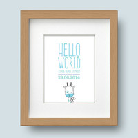Framed Personalised Print, New Baby Boy/Girl, Customisable, Hello World
