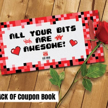 Printable Love Coupon Book and Envelope, Pixel, 8 bit, Geek Theme Instant Digital Download (Unisex) PDF 5 pages - 19 coupon options