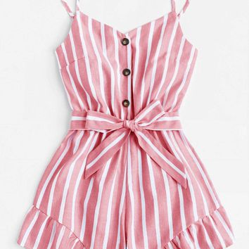 Striped Button Front Tie Waist Romper