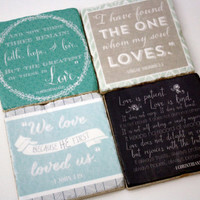 Bible Verse Coasters - love quotes. Great marriage/engagement gift!