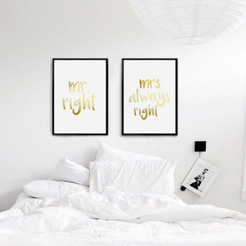 Real Gold Foil Print, Mr and Mrs Print, Mr Right Mrs Always Right, Bedroom Decor, Couple Print, Fashion Print, Set Of 2 Bedroom Prints