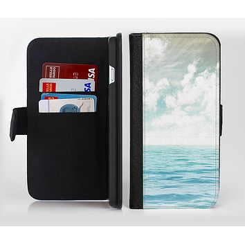 The Paradise Vintage Waves Ink-Fuzed Leather Folding Wallet Credit-Card Case for the Apple iPhone 6/6s, 6/6s Plus, 5/5s and 5c
