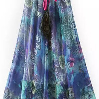 Purple Drawstring Waist Peacock Print A-Line Pleated Midi Skirt
