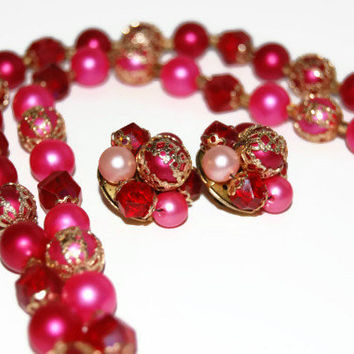 Vintage 1960's Hot Pink Beaded Necklace Earrings, Hong Kong, Costume Jewelry