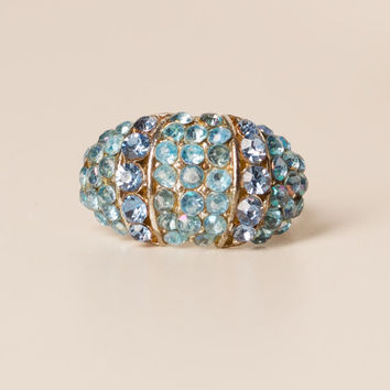 Vintage Blue Rhinestone Cocktail Adjustable Ring