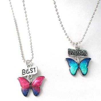 2pcs/set Best BUDS Friends Butterfly Flower Turtle Hippocampus Starfish Pendant Necklaces BFF Jewelry Christmas Gift