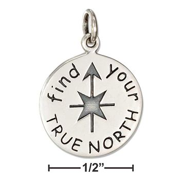 """STERLING SILVER """"FIND YOUR TRUE NORTH"""" MESSAGE CHARM"""