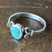 Simple Sterling Silver Stabilized Turquoise Ring Jewelry