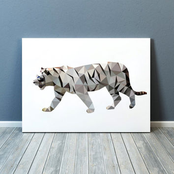 Wall art White tiger poster Animal print Geometric decor TOA83