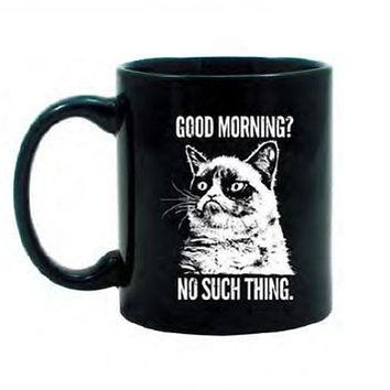 Grumpy Cat Good Morning? No Such Thing. Meme Licensed Ceramic Coffee Mug - Black