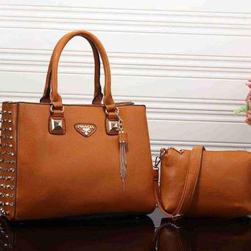 ONETOW PRADA Women Fashion Leather Satchel Tote Handbag Shoulder Bag Crossbody Set Two-Piece