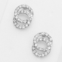 Double Circle Stud Crystal Earring Rhodium