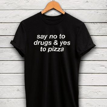 t shirt women tshirt letter print groot foodie plus size top say no to drugs yes to pizza befree food shirts clothing unisex tee
