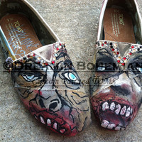 Zombies painted on TOMS Walking Dead Halloween zombie scary ghouls Toms included NO BLING