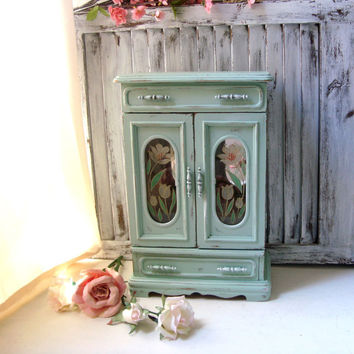 Large Mint Jewelry Box, Vintage Jewelry Holder with Floral Glass, Tall Jewelry Box, Cottage Chic Pastel Green Jewelry Holder, Gift Ideas