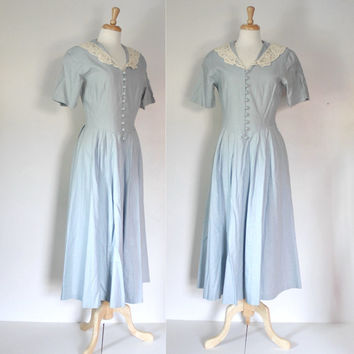 Vintage Laura Ashley Linen Maxi Dress