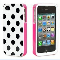 Pink Black Polka Dots 3 in1 Hard Back Cover Skin Case for iPhone 4 4G 4S TSR