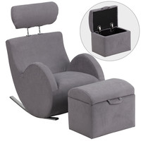 Flash Furniture HERCULES Series Gray Fabric Rocking Chair with Storage Ottoman [LD-2025-GY-GG]