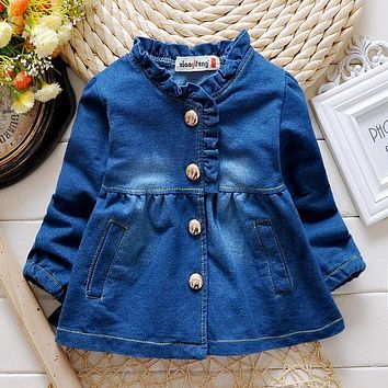 Girls Spring Coat 2016 Autumn Fashion Baby Kids Jackets Long-sleeved Cardigan Denim Girls Coats and Jackets Children Outerwear