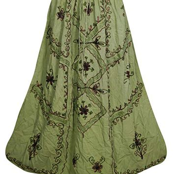 Mogul Interior Bohemian Women Green Medieval Embroidered Stonewashed Skirt: Amazon.ca: Clothing & Accessories