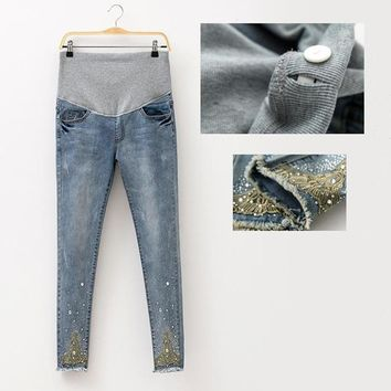 Adorable!! Embellished Maternity Jeans. Sizes M, L, XL, And XXL