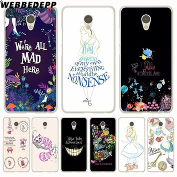 WEBBEDEPP Alice in Wonderland Anime Phone Case for Meizu M6 M5 M3 Note M6S M5S M5C M3S Mini Cover