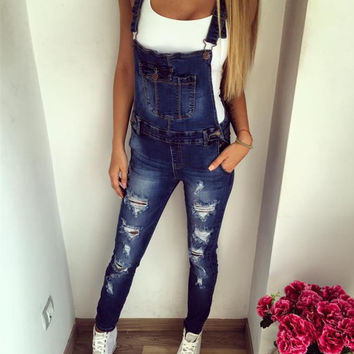 2017 Fashion Women Leisure Holes Blue Jeans Overalls shoulder straps Rompers Popular Jumpsuits