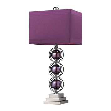 Alva Contemporary Table Lamp In Black Nickel And Purple Purple,Black Nickel