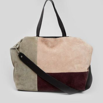 Nude Pink Suede Colour Block Tote Bag