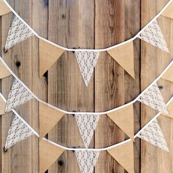 3.3M Vintage Fashion Lace Bunting Rustic Hessian Burlap Banner Wedding Christmas Party Decor