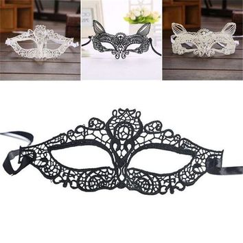 ac DCCKO2Q Halloween Masquerade Lady Black White Lace Mask hollow out Catwoman sep929 Professional High quality Drop shipping