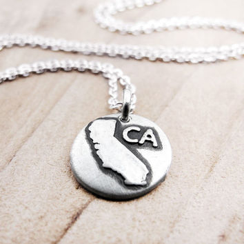 Tiny state necklace  California jewelry silver by lulubugjewelry