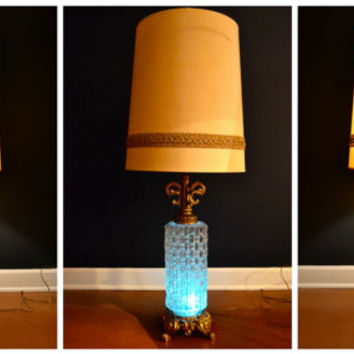 Vintage Large Ornate Crystal and Gold Lamp, Hollywood Regency Table Lamp, 3 Way Light, Blue Light, Base Light