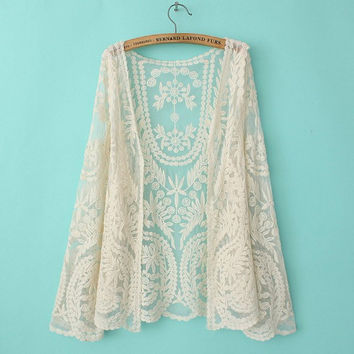 Floral Lace See Through Long-Sleeve Cardigan