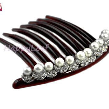 @@Large simulated Pearl CZ Hair Comb clip slide bridal Party Wedding flower girl