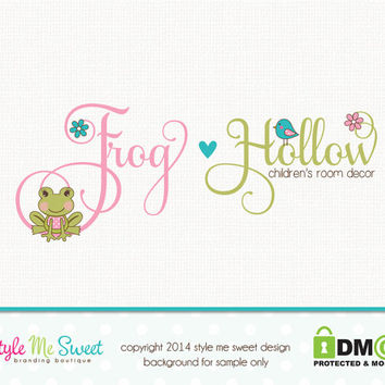 Frog Logo Party Logo Childrens Boutique Logo Premade Logo Design Small Business Logo Hand Drawn