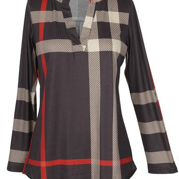 Cupshe Absolutely Fabulous Plaid High Low Top