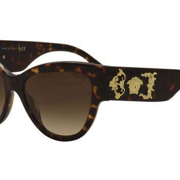 Versace Women's VE4322 VE/4322 108/13 Havana/Gold Cat Eye Sunglasses 55mm