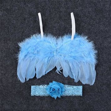 Feather Wings Fitted Photography Prop Crystal Baby Headband
